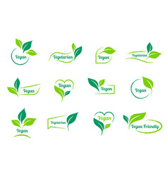 bio ecology vegan sticker icons templates vector image