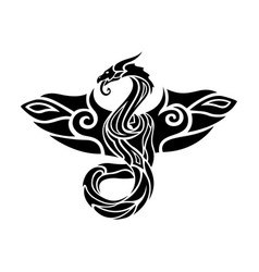 Black and white tattoo art with flying dragon vector