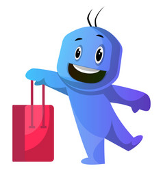 blue cartoon caracter holding red shoping bag on vector image