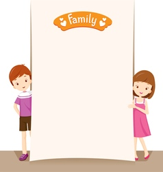 Boy And Girl With Blank Sign vector image