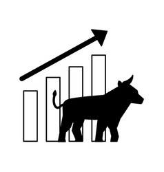 bull chart growth stock market vector image