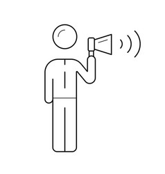 businessman making noise with megaphone line icon vector image
