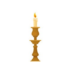 Candle in a candlestick vintage candle holder vector