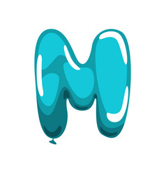 capital english letter m made of blue glossy vector image