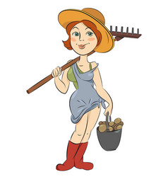 Cartoon image of farmer girl vector