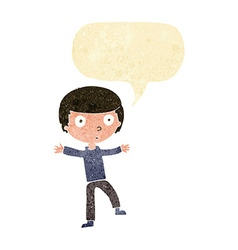cartoon startled boy with speech bubble vector image vector image