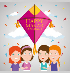 children with kite to celebrate makar sankranti vector image