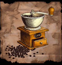 Coffee mill hand drawn vector