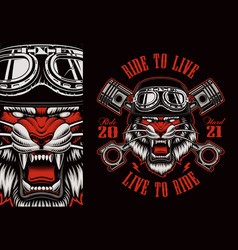 Colorful biker patch with a tiger biker vector
