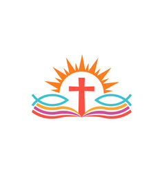 Cross over bible with fishes religion logo vector