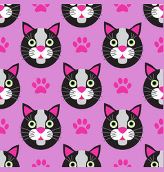 cute cats faces seamless kids pink pattern vector image