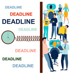 Deadline in minimalist style cartoon flat vector