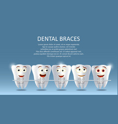 dental braces concept poster banner vector image