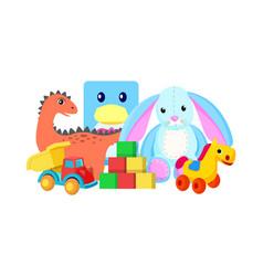 dinosaur and rabbit toys vector image