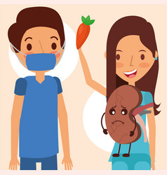 doctor surgeon and woman kidney world campaign vector image