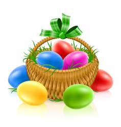 Easter egg basket vector