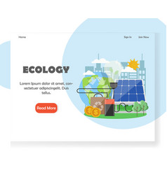 ecology website landing page design vector image