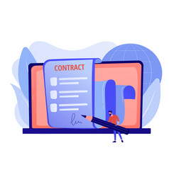 Electronic contract concept vector