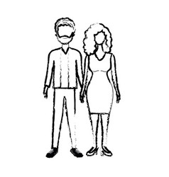 Figure nice couple with hairstyle and elegant wear vector