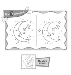 find 9 differences game moon vector image