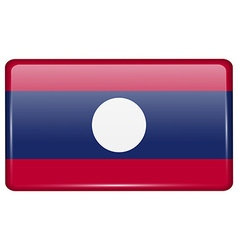 Flags Laos in the form of a magnet on refrigerator vector