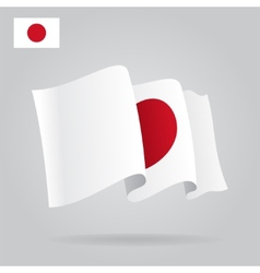 Flat and waving Japanese Flag vector image