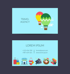 Flat travel elements business card template vector