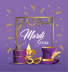 frame with mask and drum decoration to merdi gras vector image