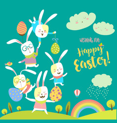 Funny bunnies celebrating easter vector