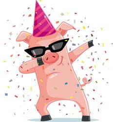 Funny party pig dabbing cartoon vector
