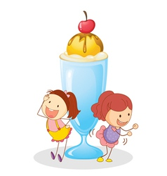 girls and ice cream vector image vector image