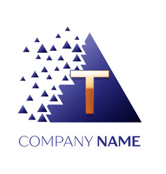 golden letter t logo symbol in blue pixel triangle vector image