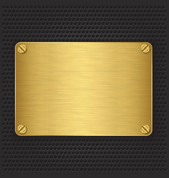 Golden texture plate with screws vector