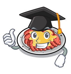 Graduation carpaccio above wooden cartoon vector