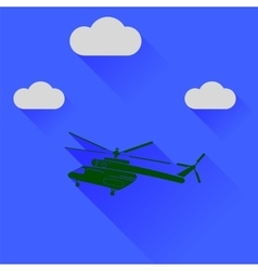 Green Helicopter Silhouette vector image