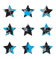 Grunge black and blue stars collection vector