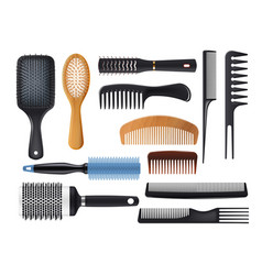 Hairbrushes and combs realistic hair brush vector