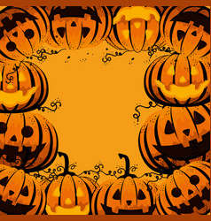 halloween card with pumpkins pattern vector image