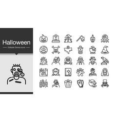 halloween icons modern line design vector image