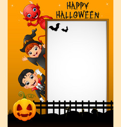 halloween sign with little girl witch and little b vector image
