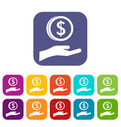 hand and dollar coin icons set vector image