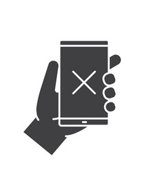 hand holding smartphone glyph icon vector image