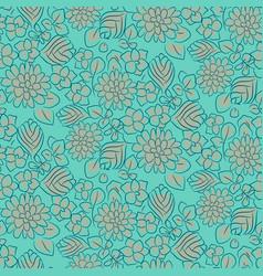 handdrawn flower dense turquoise line seamless vector image