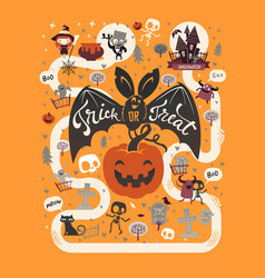 Happy halloween flyer template in a flat style vector
