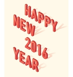 Happy New 2016 Year 3d Isometric element vector image