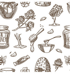 honey beekeeping sketch pattern background vector image