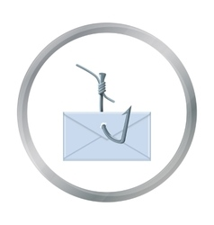 Hooked e-mail icon in cartoon style isolated on vector image