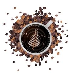Hot Coffee with Latte Art in Fern Leaf vector