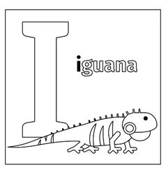 Iguana letter I coloring page vector image
