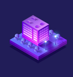 Isometric ultra city concept violet style vector